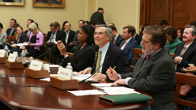 Rush Holt fields questions on everything from scientific research to the costs of regulations to curb climate change during House hearing.   Carla Schaffer/AAAS