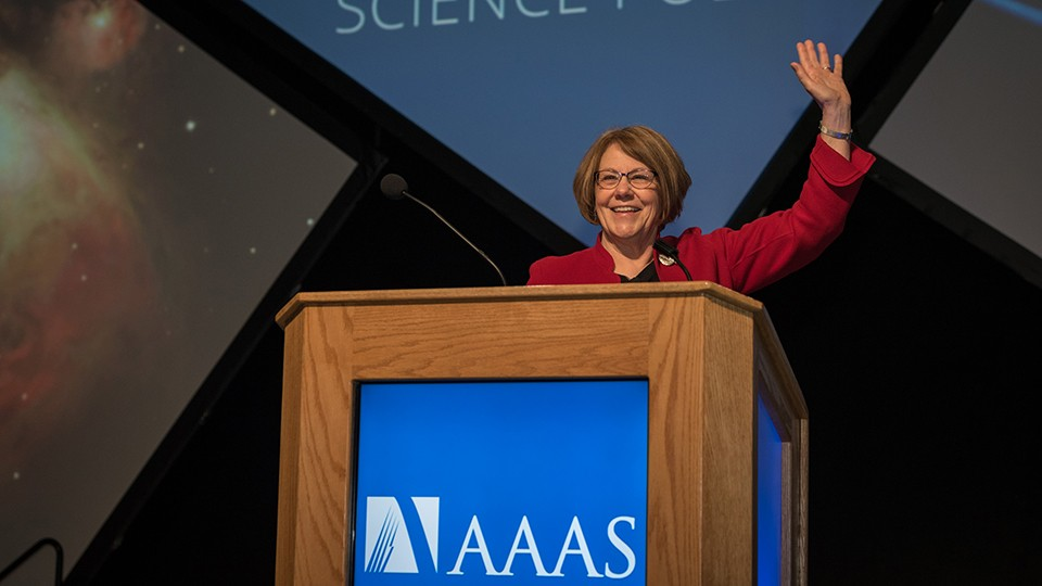 DURING HER PRESIDENTIAL ADDRESS ON 16 FEBRUARY, AAAS PRESIDENT BARBARA SCHAAL EMPHASIZED THE IMPORTANCE OF OPEN COMMUNICATION AND THE FREE EXCHANGE OF IDEAS FOR REALIZING THE FULL BENEFITS OF SCIENCE.| ATLANTIC PHOTOGRAPHY