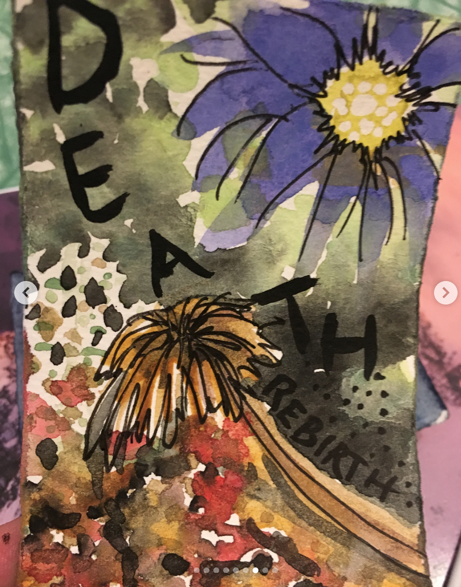Death-transition, rebirth, and new beginnings.  Letting something go for something new.  One of my favorite and most pulled cards. watercolor.