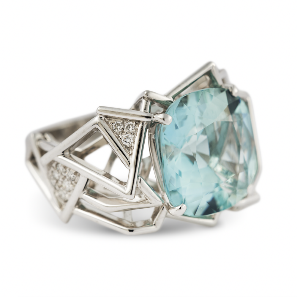 The first piece Amy designed, this aquamarine ring from her Disorient Collection