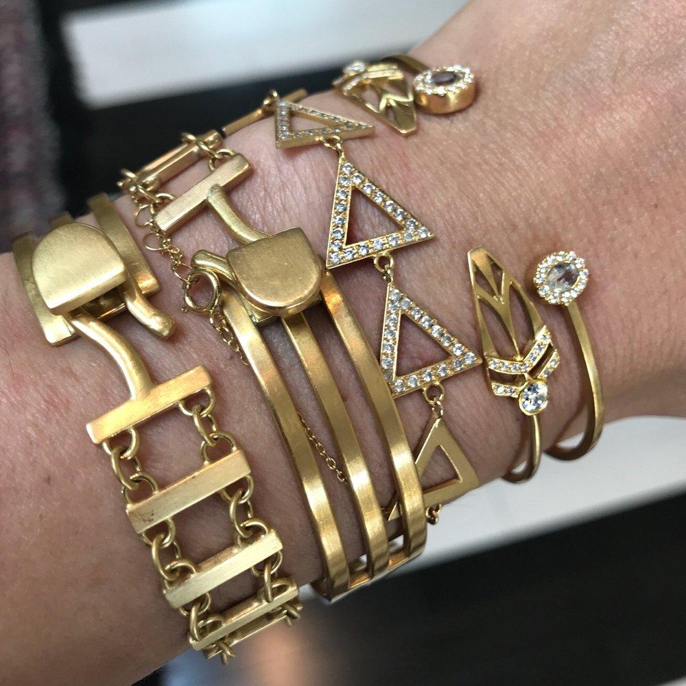 Halleh's Armor: Stacked bracelets