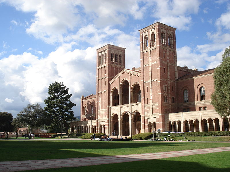 Royce Hall, UCLA's landmark building, stands in the midst of a glorious post-rain sky, 7 February 2009, by Alton on Wikimeida Commons.