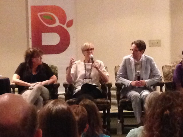 "Janet Metzger, narrator (center), at ""The Art of Storytelling"" panel with author Joshilyn Jackson ( The Almost Sisters ) and David Russell, storyteller. Not pictured: Theresa Davis, spoken word artist."