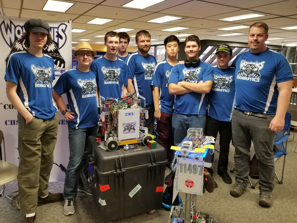 CHS FTC Team at Alaska State Championship 2018. L to R: Emory Vican, TJ Hatch, Ethan Beckett, Tristan Glasen, Jeremiah Beckett (Coach), Kevin Chung, Dylan Maloney, Micah Whitcomb, Jared Niles (Adult Advisor).