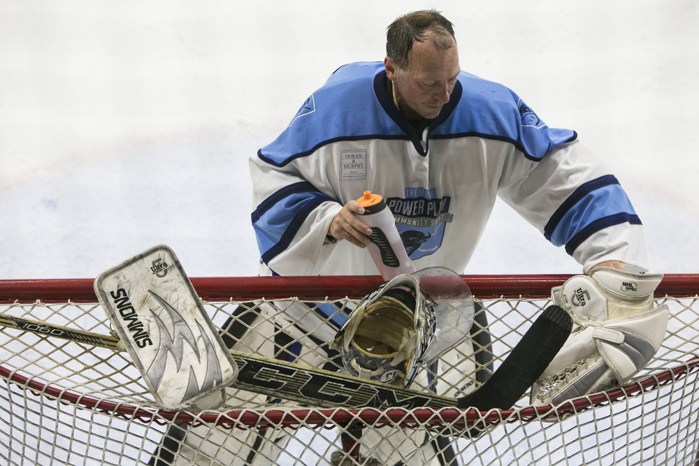 Even the goalies got a long workout in the charity event that included amateurs and former pros.