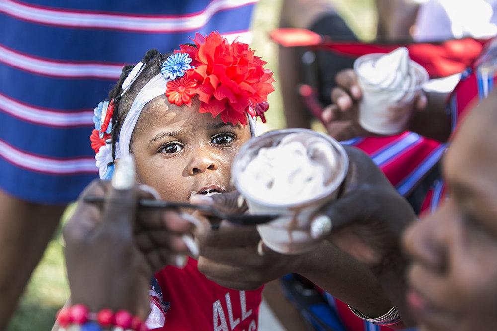 Janiyah Walker, 21 months old, enjoys ice cream.