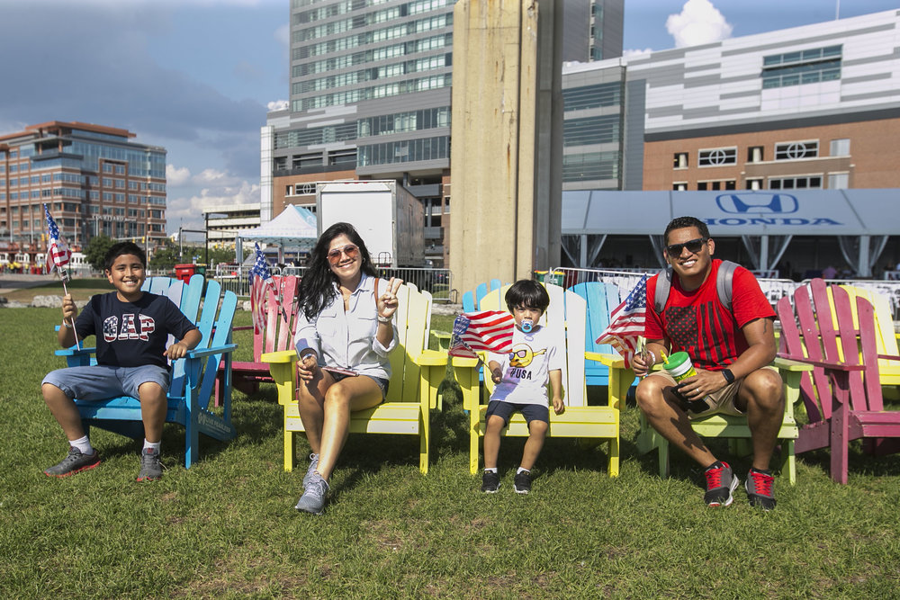 Angel, 9, and Yeshua, 2, celebrate Independence Day with their parents, Erika and Gary Vaca.