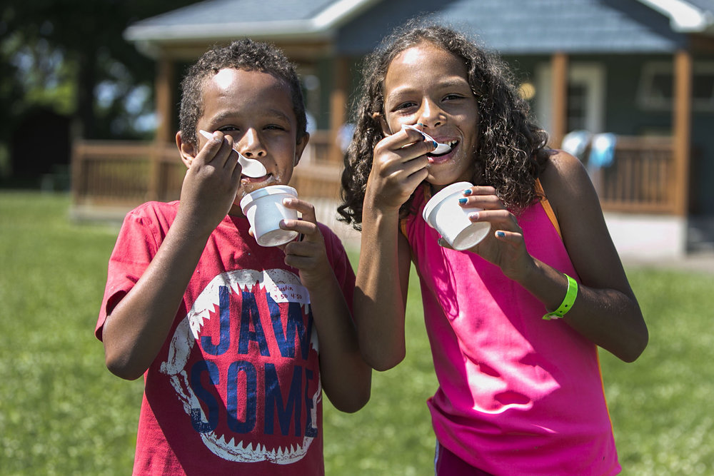 Justin Walek, 8, and Kara Walek, 10, enjoy their ice cream.