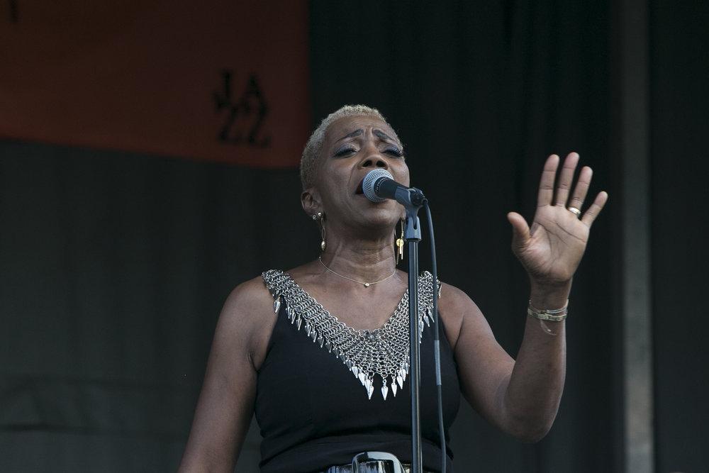 Jazz singer composer and arranger Carmen Lundy sings.