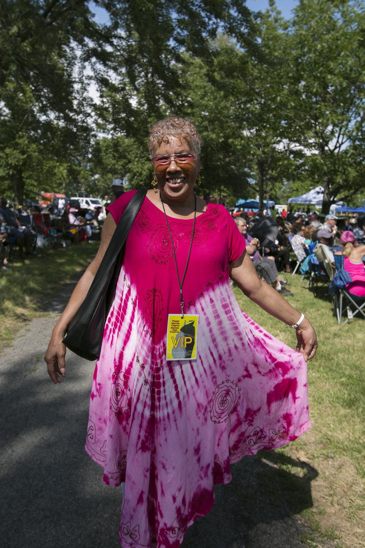 Denise Watson, Dawn-Berry Walker's sister, dressed festive for the festival.