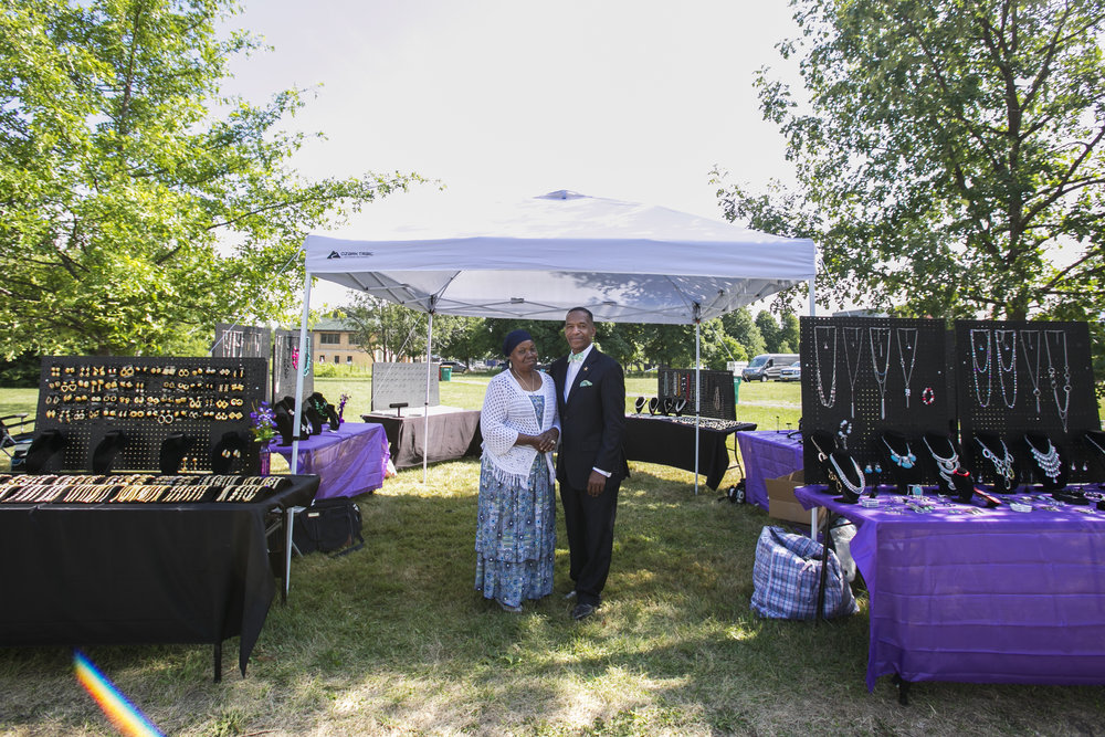 Dwight Muhammad and Diane Shakir, owners of Shakir Vintage Yet Modern Jewelry, sell jewelry at the festival.