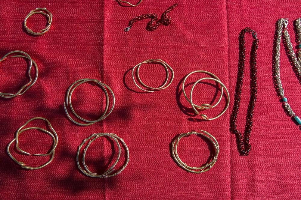 Bracelets made by Elijah Mack II.