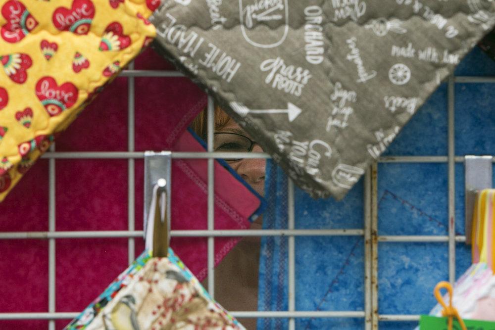Jane Hammann enjoys home decorations made by Nicki Newur.