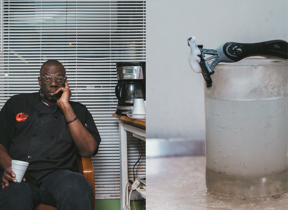 LEFT: Also a barber at the shop, Eric Collins, one of Charleston's two older brothers, waits for customers in his favorite chair.          RIGHT: Eric's razor and shaving mug.