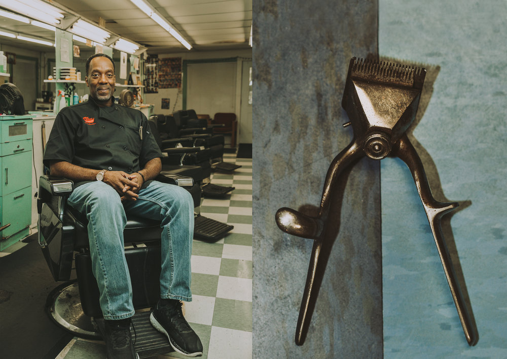 LEFT: Charleston Collins Sr., 56, sits at the work station he used for 32 years until moving to the one his late father previously occupied.RIGHT: Charleston's oldest hair clipper.