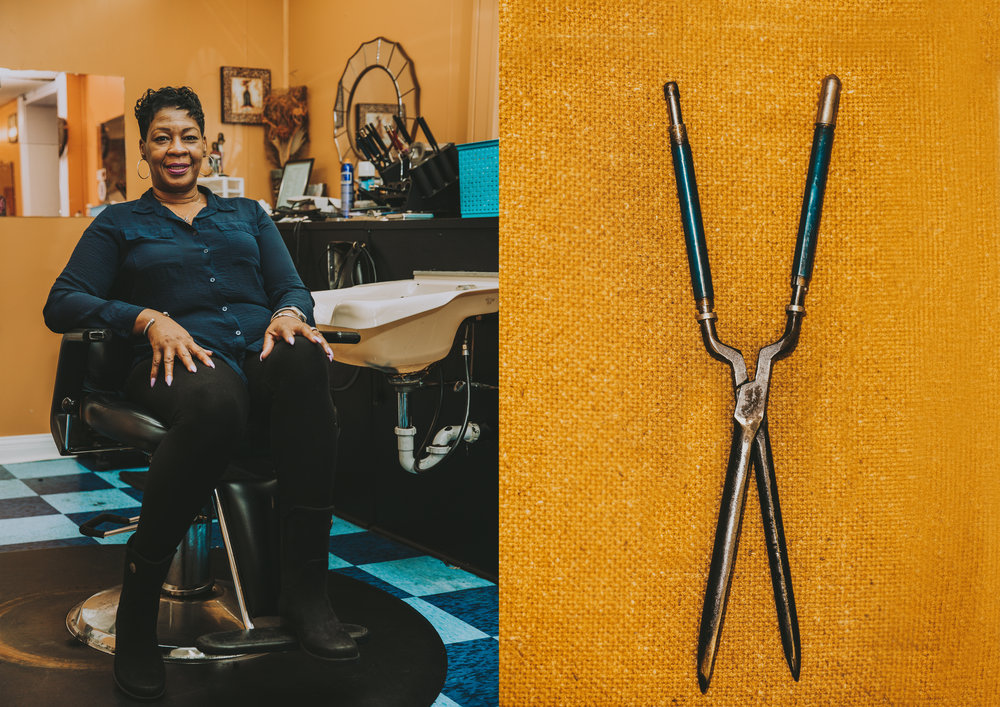 LEFT: Mary Collins, Charleston's wife, continues her mother-in-law Juanita's business by running the beauty salon upstairs. RIGHT: The oldest curling iron Mary inherited from Juanita.