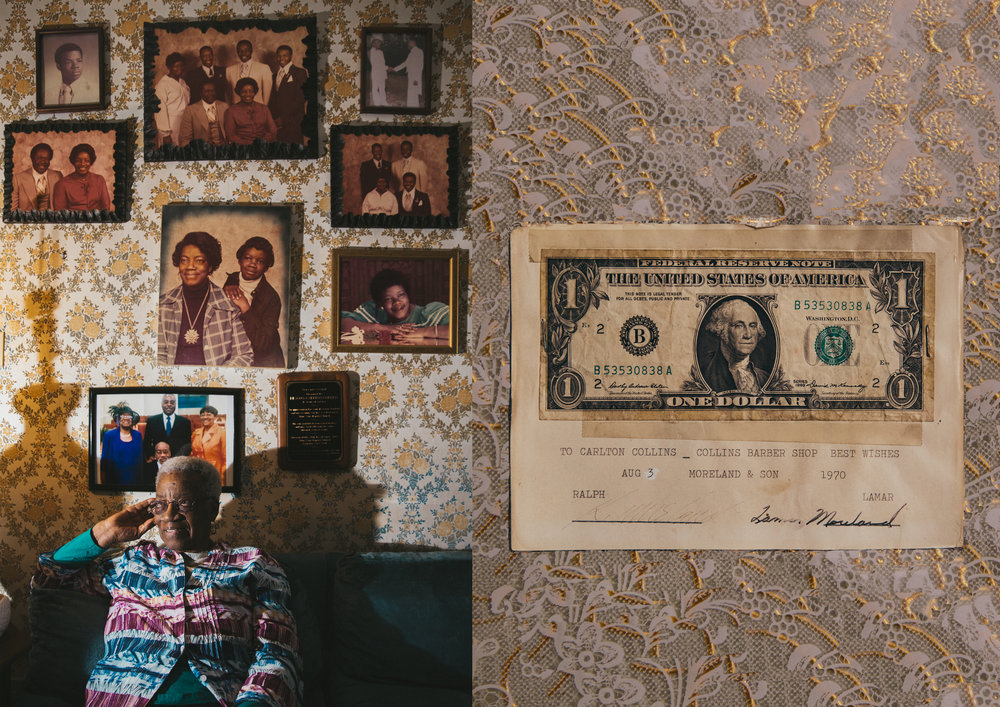 LEFT: Juanita Collins, 83, sits below family photos in the living room of her house.  RIGHT: The first dollar Carlton Collins Jr. made at Collin's Barber Shop.