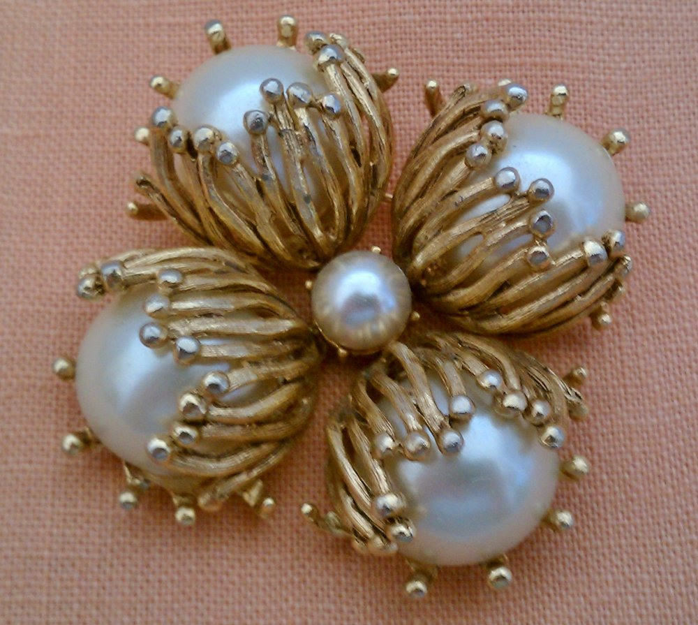 Gold and pearl unsigned pin that belonged to my mother.