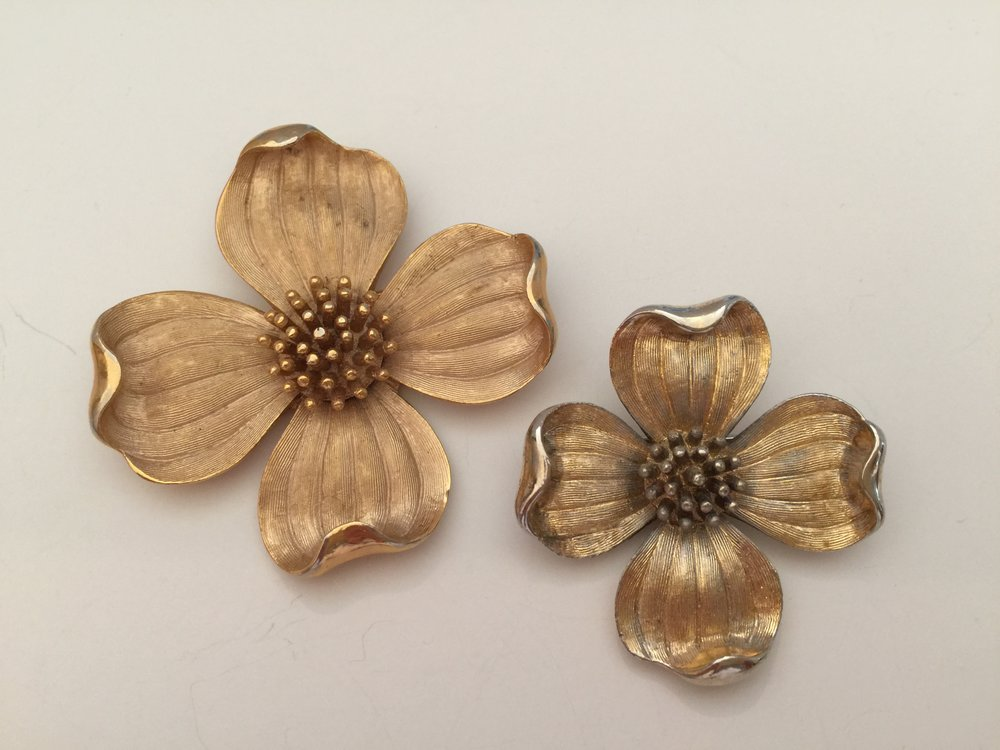 I collected a small Trifari dogwood blossom to wear along with my mother's larger pin.