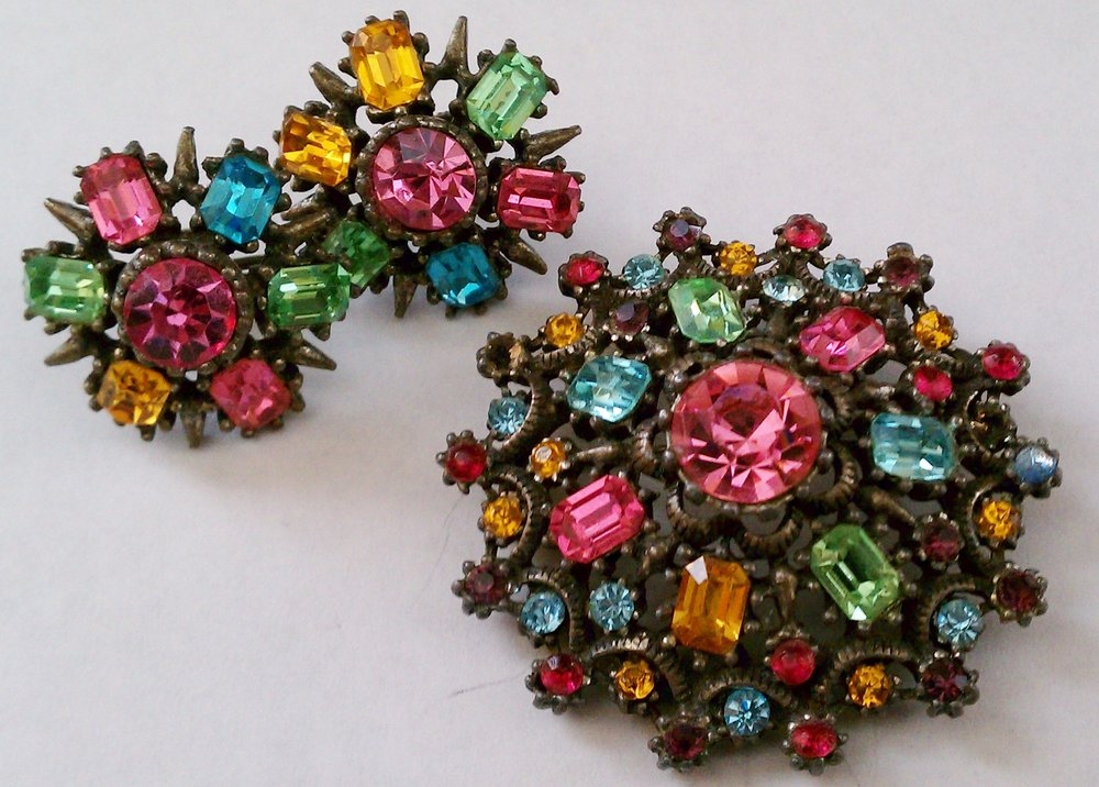 A beautiful Coro jeweled brooch and matching screw-on earrings that belonged to my grandmother ... probably from the 1940s.