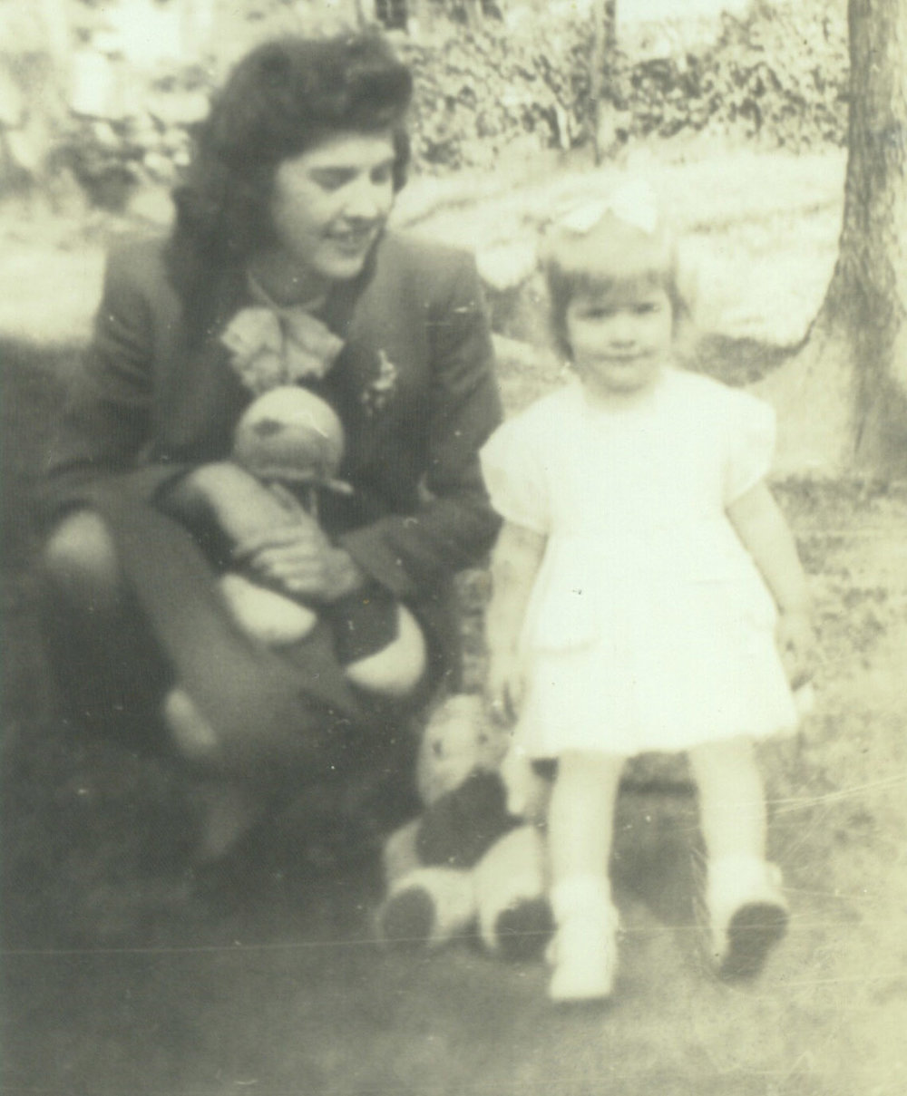 My mother and I in 1945 with the rag doll and my teddy bear.