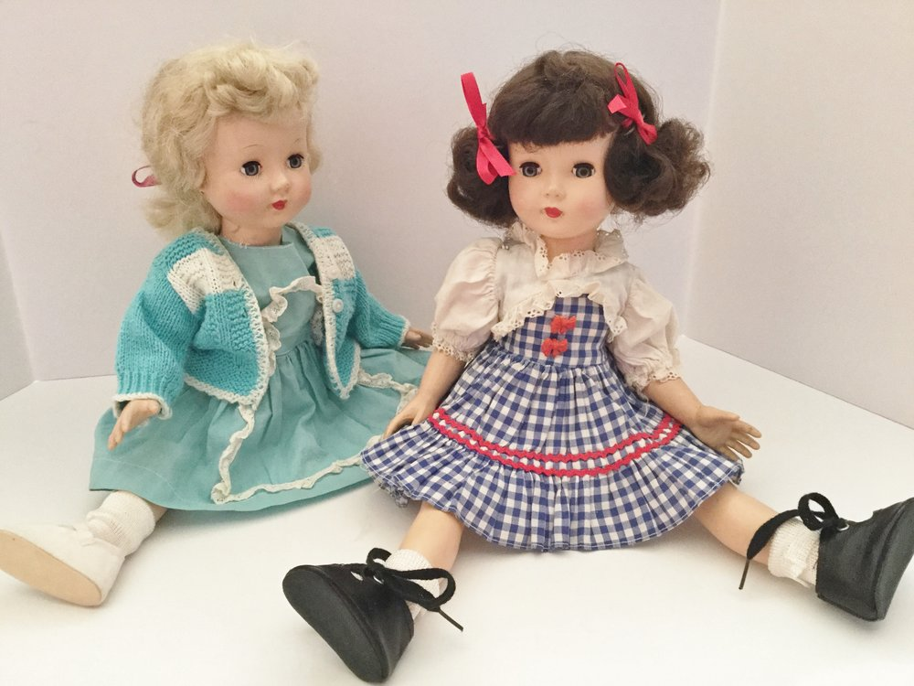 These are the two Effanbee Honey dolls that I bought. The dark haired doll best matches my memories of the missing doll. She is wearing the original dress that helped me identify her. The blond doll is wearing a dress and panties made by my mother and a purchased sweater probably from the dime store. I had to purchase new shoes and socks for both dolls. Surprisingly you can buy vintage shoes and socks on line. Equally surprising, the shoes and socks cost more than the doll.