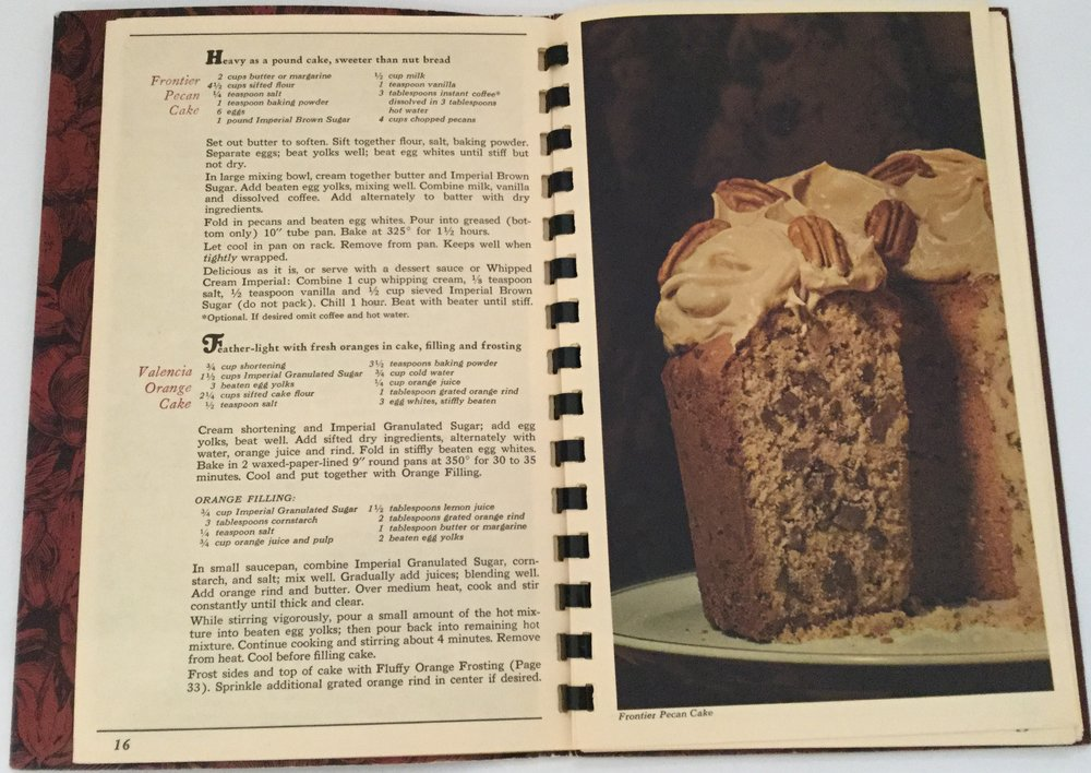 Frontier Pecan Cake from the 125th Anniversary Imperial Sugar booklet