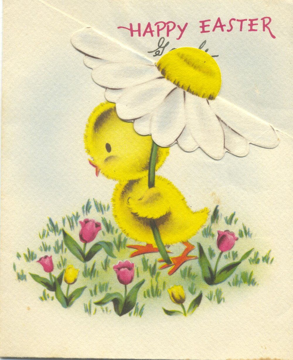 Vintage Norcross Easter card from my maternal grandparents found in my baby book, early 1940s