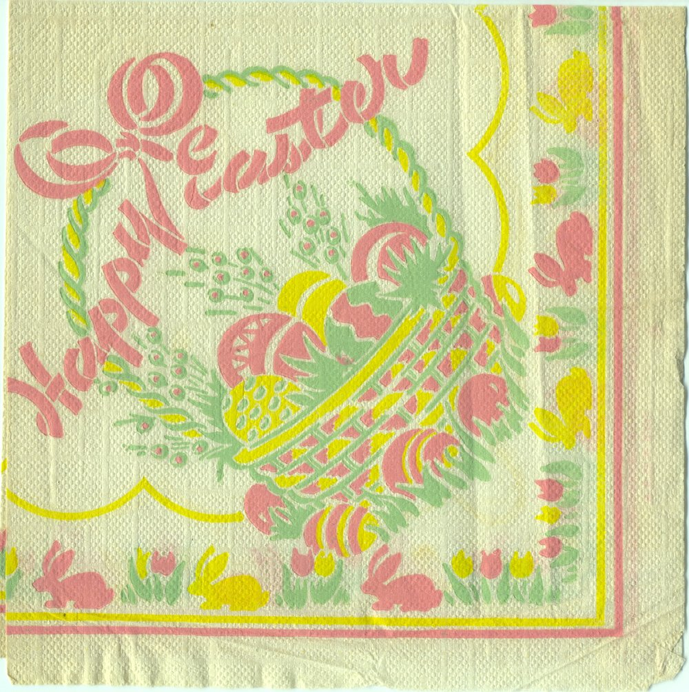 A vintage Easter napkin saved in my baby book