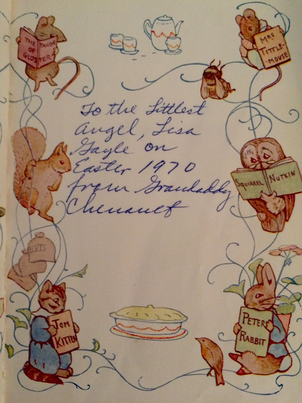 Inscription in The Tale of Squirrel Nutkin by Beatrix Potter