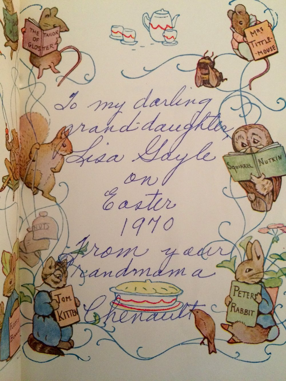Inscription in The Tale of Peter Rabbit by Beatrix Potter