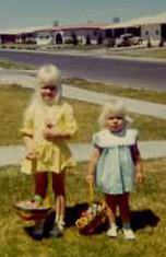 Lisa and Laurie Easter 1972 in El Paso, Texas ... Oops! What happened to Laurie's basket handle?
