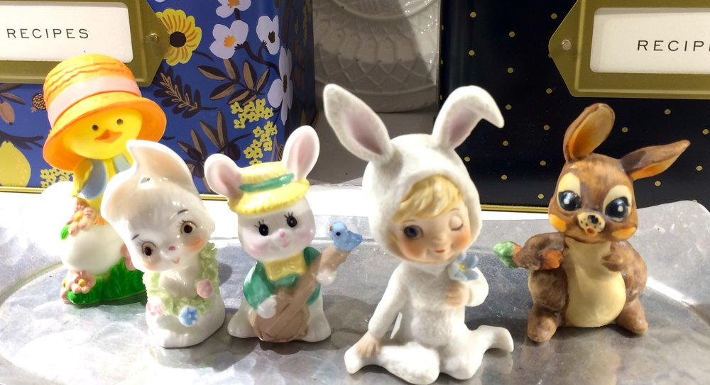 Little bunny figurines collected for Lisa's shadow box