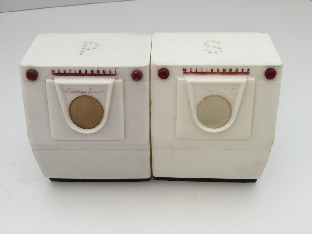 One of my favorite Westinghouse collectibles ... plastic salt and pepper shakers in the shape of a washer and dryer