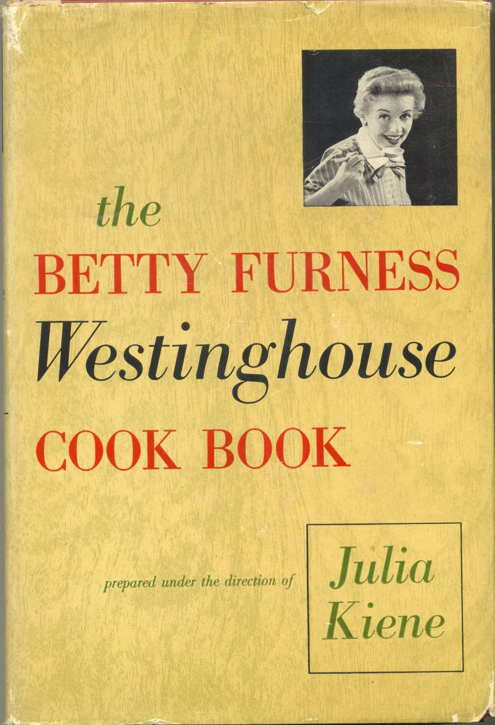 A large hardback version of the Westinghouse Cookbook published in 1954.  Mine is a first printing.  Betty Furness was the spokesperson for Westinghouse in print ads, on the radio and on television.