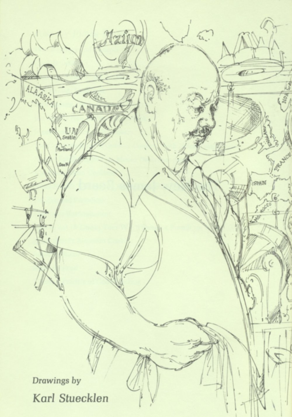 Sketch of James Beard from the title page of The New James Beard, 1981, by Karl Stuecklen
