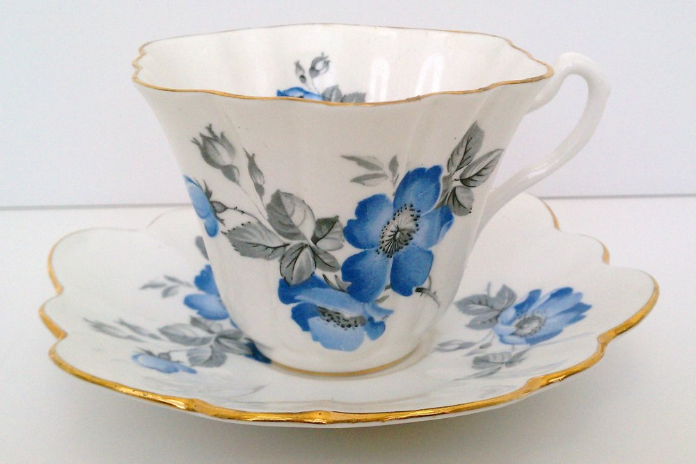 Royal Taunton blue floral cup and saucer ... made in England