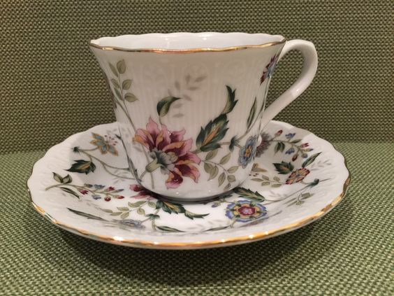 Buckingham pattern cup and saucer ... Andrea by Sadek