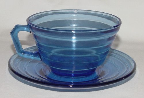 Moderntone blue depression glass cup and saucer by Hazel Atlas ... a family pattern since the 1930s