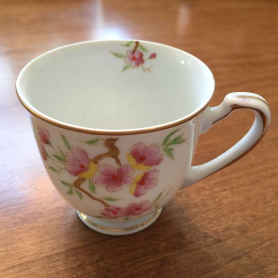 Small Ohata China occupied Japan demitasse cup but no saucer ... maybe cherry blossoms
