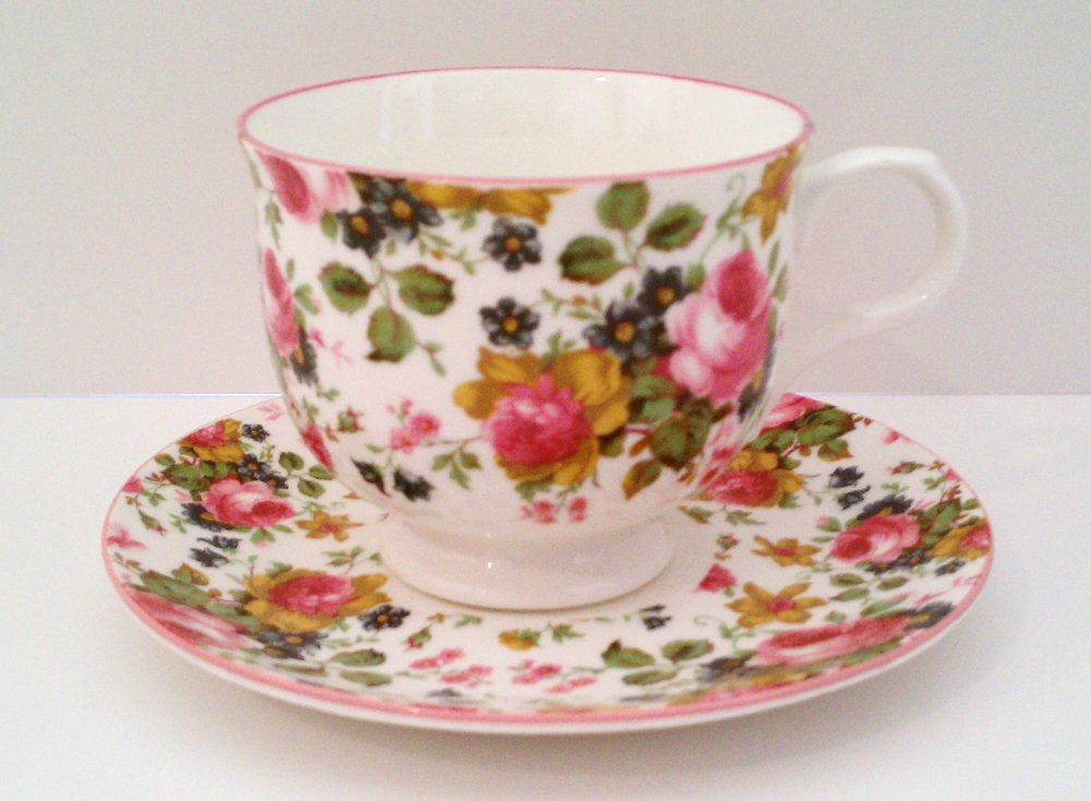 Pink floral cup and saucer from the Victoria's Secret Collection