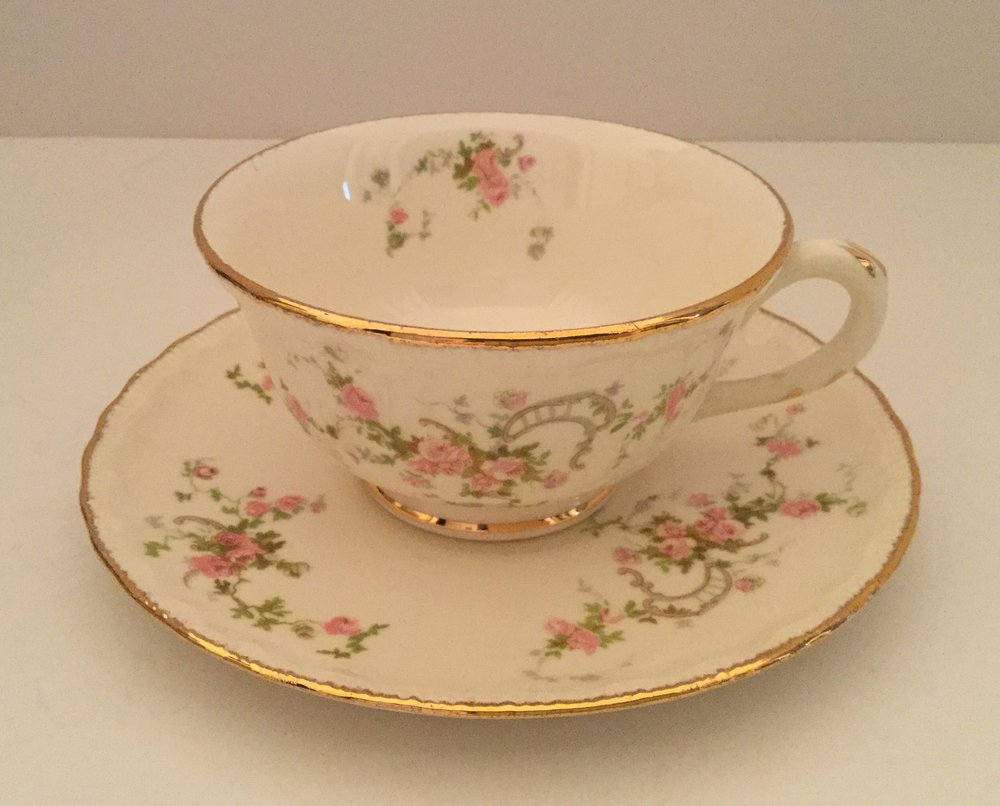 Pope Gosser 1950s New Princess pattern cup and saucer ... a collected cup and saucer in my paternal grandmother's pattern