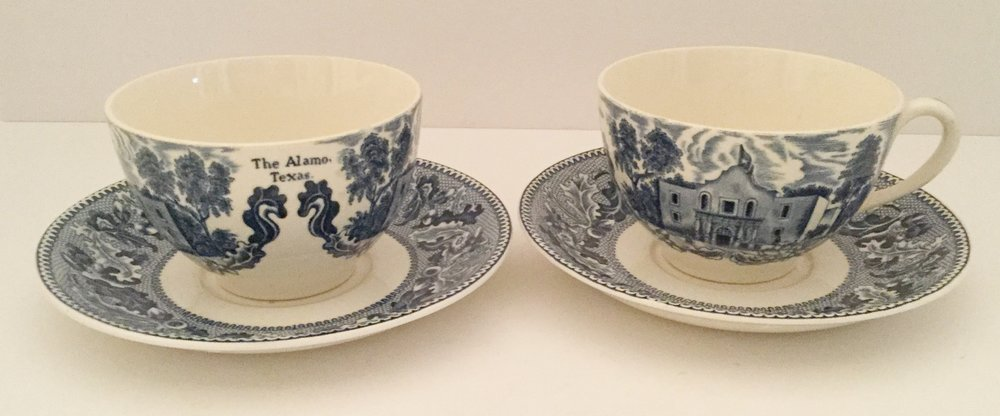 Two large Texas Alamo cups and saucers from the Johnson Brothers Historic America Pattern ... made in England