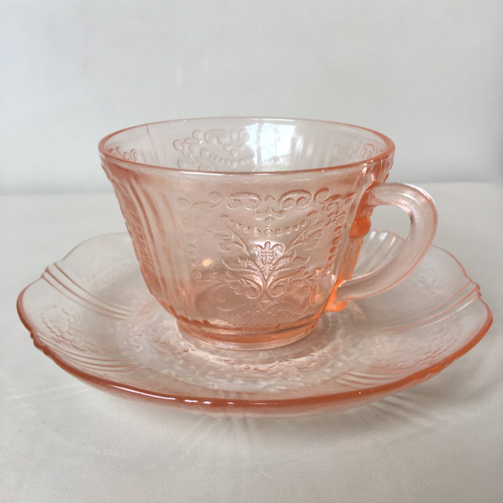 Depression glass American Sweetheart cup and saucer