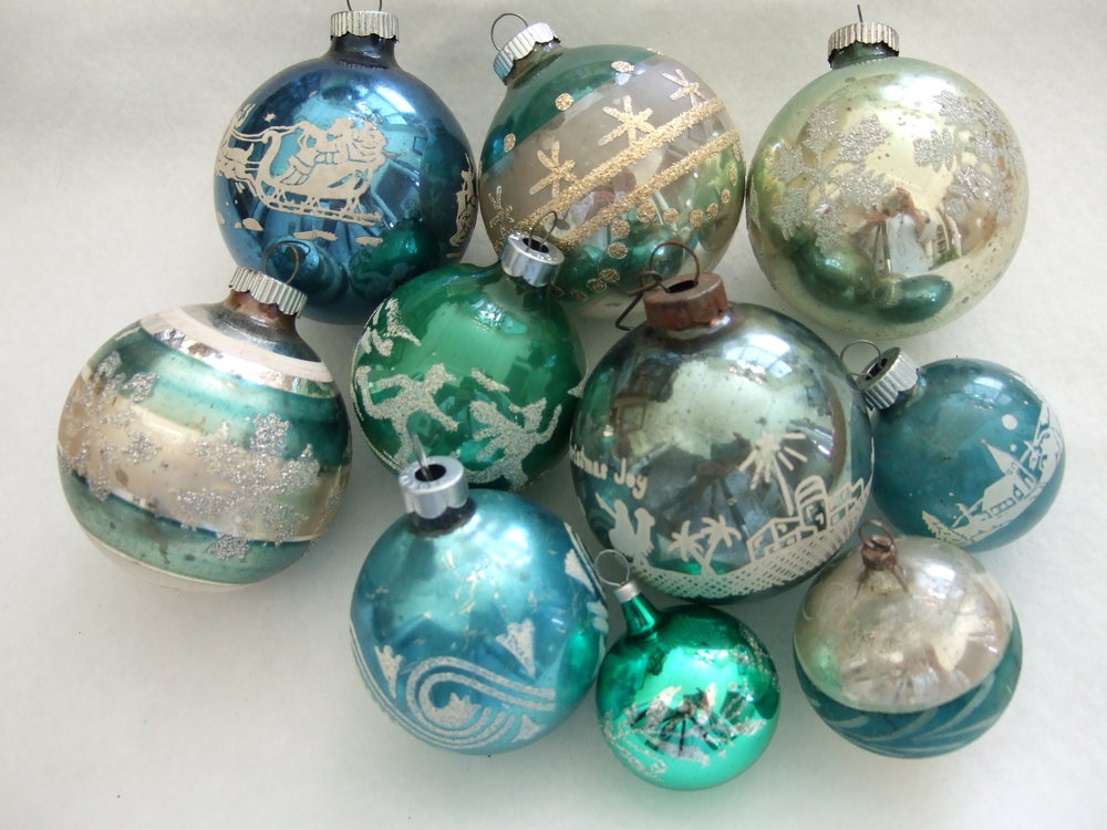 vintage ornaments 4jpg - Teal Christmas Ornaments