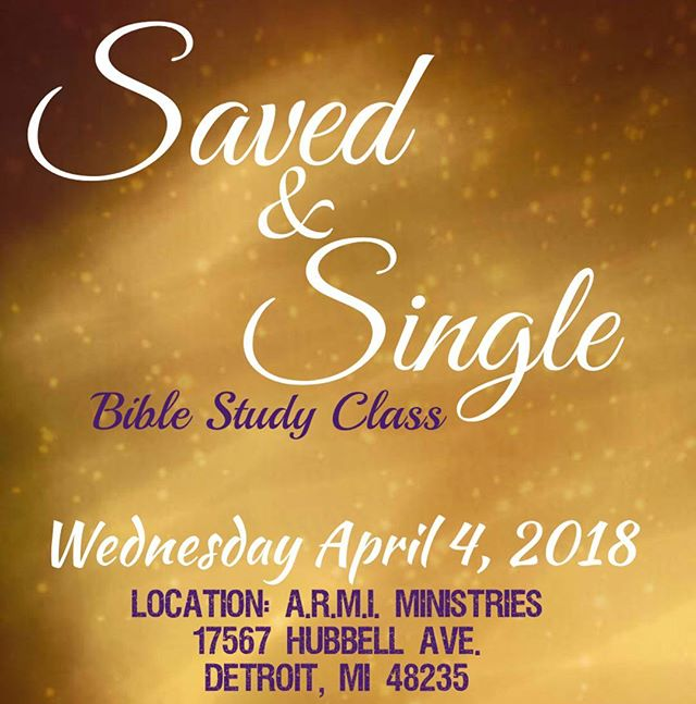 Come join me and other singles tonight when we discuss being saved and single.  7pm at Armi Ministries in Detroit. . . . . . #singlenotdead #savedandsingle #biblestudy #thewait #datingwithpurpose