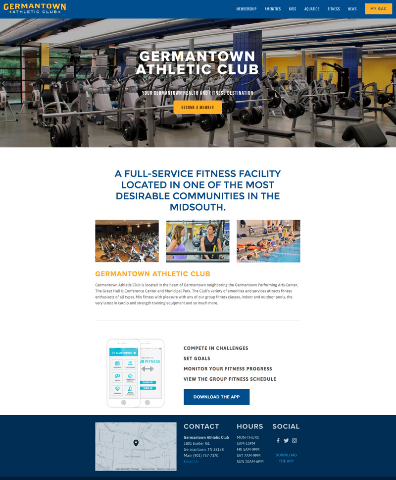 Memphis website Design by Se2m - Germantown Athletic Club