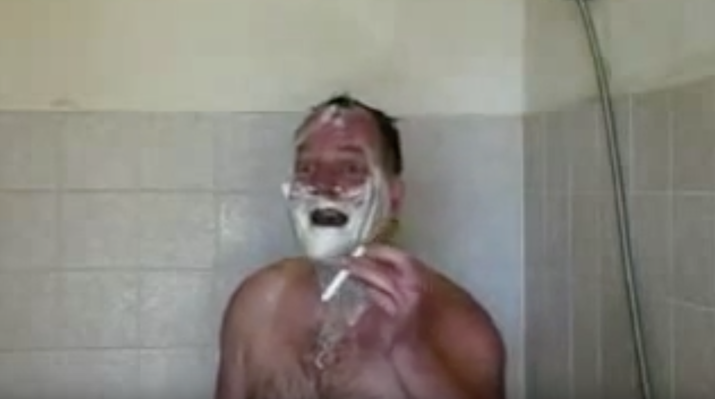 Smoking Shower Man's Moment of Pure Joy