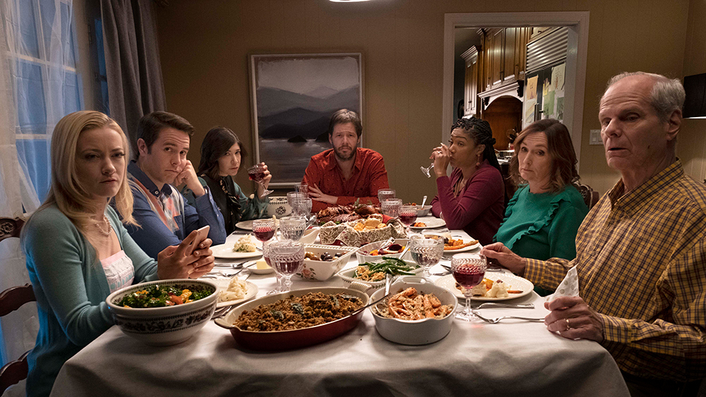 This is a still from  THE OATH , a movie about arguing at Thanksgiving