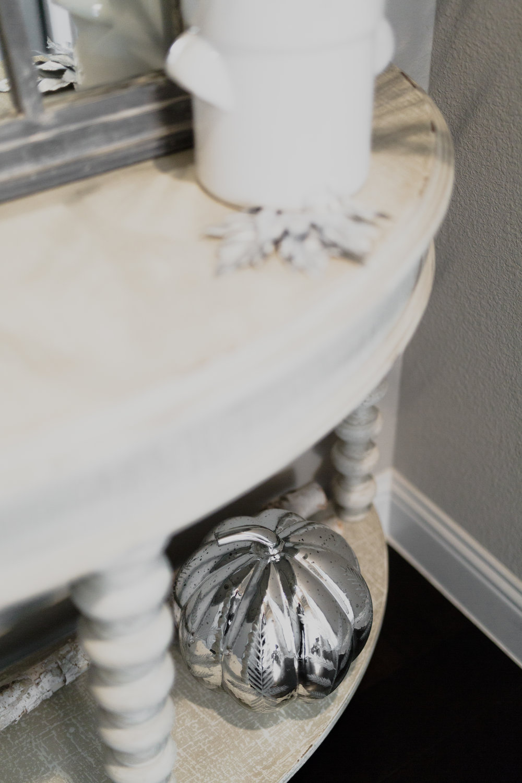 Neutral Fall Decor with Mercury Glass Pumpkins